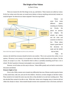 The Origin of Our Values Page 1