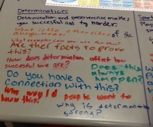"Note these critical questions on one student's topic of ""determination.""  This helped her to narrow down and focus her idea."